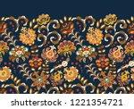 vintage flowers seamless border ... | Shutterstock . vector #1221354721