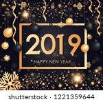 happy new year 2019 winter... | Shutterstock .eps vector #1221359644