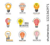 ideas bulb logotypes. colorful... | Shutterstock .eps vector #1221362971