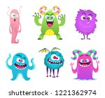 monsters mascot. furry cute... | Shutterstock .eps vector #1221362974