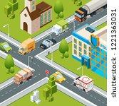city crossroad traffic.... | Shutterstock .eps vector #1221363031