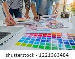 asian advertising designer... | Shutterstock . vector #1221363484