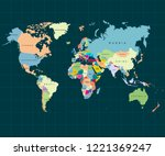 the earth. world map on dark... | Shutterstock .eps vector #1221369247