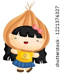 a girl in a onion costume... | Shutterstock .eps vector #1221376327