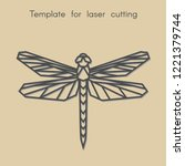 Stock vector template animal for laser cutting abstract geometric dragonfly for cut stencil for decorative 1221379744