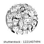 animals kids drawing | Shutterstock .eps vector #1221407494