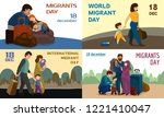 migrant banner set. cartoon... | Shutterstock .eps vector #1221410047