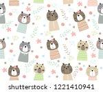 cute bear cartoon seamless...   Shutterstock .eps vector #1221410941