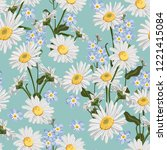 seamless pattern with chamomile ... | Shutterstock .eps vector #1221415084