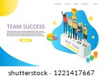 team success landing page... | Shutterstock .eps vector #1221417667
