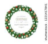 christmas wreath round frame... | Shutterstock .eps vector #1221417841