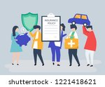 characters of people holding... | Shutterstock .eps vector #1221418621