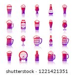 beer silhouette icons set with... | Shutterstock .eps vector #1221421351
