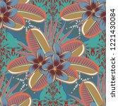 soft watercolor plumeria flower ... | Shutterstock . vector #1221430084