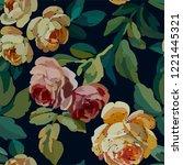 vintage floral seamless... | Shutterstock .eps vector #1221445321