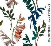 vintage floral seamless... | Shutterstock .eps vector #1221448201