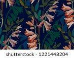 vintage floral seamless... | Shutterstock .eps vector #1221448204