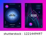 electronic sound flyer. music... | Shutterstock .eps vector #1221449497