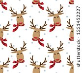 red nose reindeer in winter... | Shutterstock .eps vector #1221452227