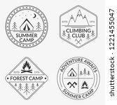 camp logo set. summer and... | Shutterstock .eps vector #1221455047