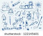 set of doodles. winter