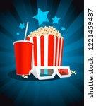 cinema poster with popcorn box  ... | Shutterstock . vector #1221459487