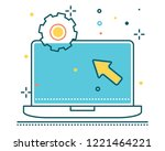 laptop line filled icon... | Shutterstock .eps vector #1221464221