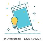 mobile phone line filled icon... | Shutterstock .eps vector #1221464224
