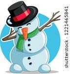 cool dabbing snowman vector... | Shutterstock .eps vector #1221465841