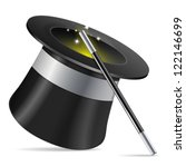 magician hat with magician wand ...   Shutterstock .eps vector #122146699