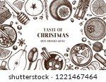 winter drink bar menu. hand... | Shutterstock .eps vector #1221467464