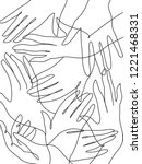 abstract hands together. line... | Shutterstock .eps vector #1221468331