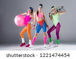 beautiful sporty girls with...   Shutterstock . vector #1221474454