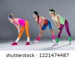 beautiful sporty girls in 80s... | Shutterstock . vector #1221474487
