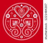 folklore floral nordic...   Shutterstock .eps vector #1221484207
