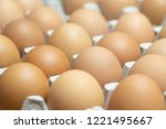 close up whole eggs in box.... | Shutterstock . vector #1221495667