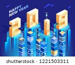 new year 2019 in isometric... | Shutterstock .eps vector #1221503311