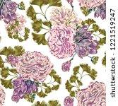 seamless peonies vector vintage ... | Shutterstock .eps vector #1221519247