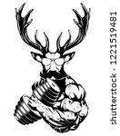 strong deer the athlete... | Shutterstock .eps vector #1221519481