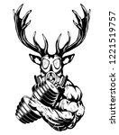 strong deer the athlete... | Shutterstock .eps vector #1221519757