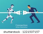 business and robot connection.... | Shutterstock .eps vector #1221537157