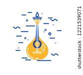 acoustic guitar logo design.... | Shutterstock .eps vector #1221539071