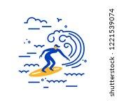 surfing logo design. surfer and ... | Shutterstock .eps vector #1221539074