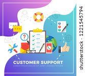 customer support. flat design... | Shutterstock .eps vector #1221545794