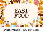 vector fast food frame...   Shutterstock .eps vector #1221547381
