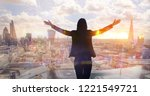 young woman looking over the... | Shutterstock . vector #1221549721