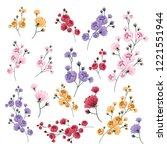 flower clipart with colorful... | Shutterstock .eps vector #1221551944