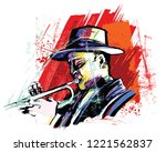 trumpet player over grunge... | Shutterstock .eps vector #1221562837