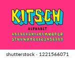 kitsch style font  pop art... | Shutterstock .eps vector #1221566071