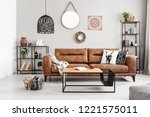 Leather Sofa With Pillows And...